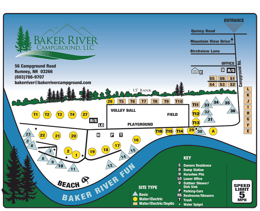 Baker River Campground Site Map